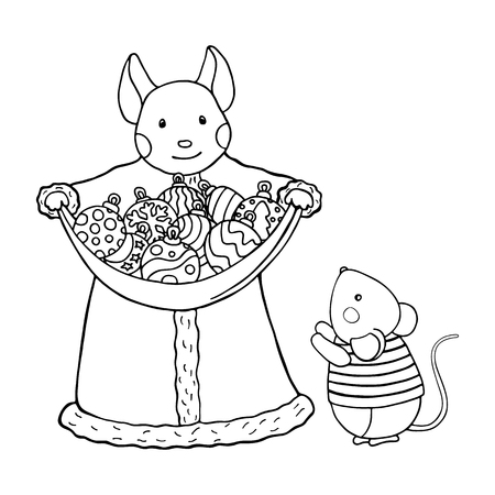 Mother mouse with christmas balls and cute mousy. Illustration