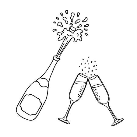 Bouteille de champagne et verres de champagne