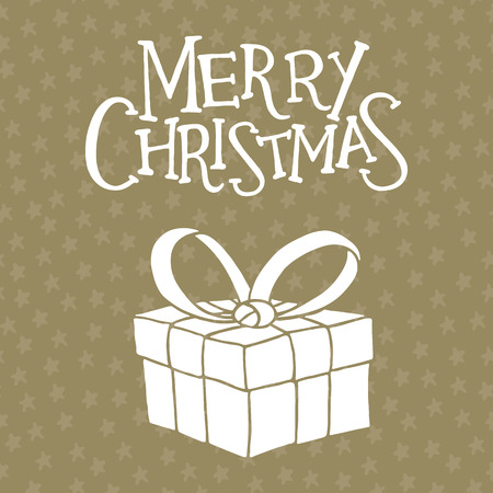 christmas gift box: Christmas greeting card with a gift box Illustration