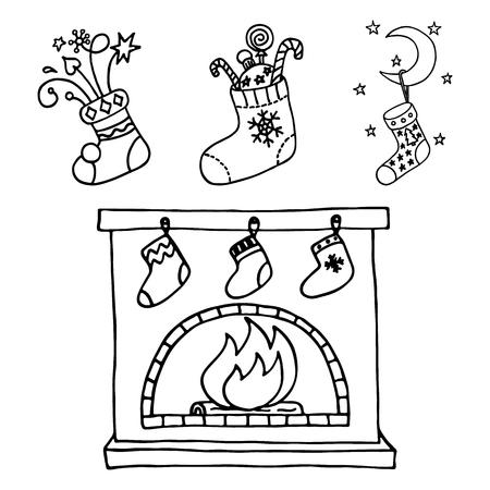 mantelpiece: Christmas stockings set. Illustration