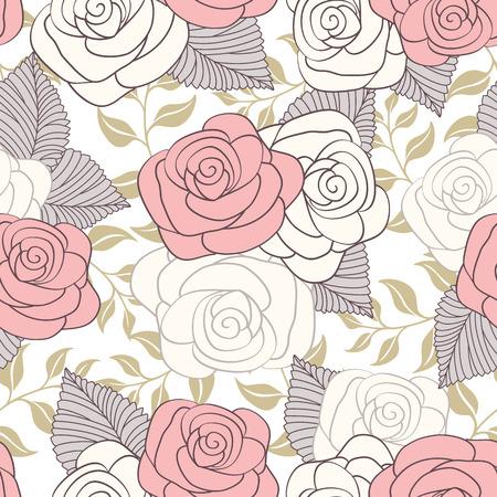 Fondo floral inconsútil de la vendimia. ilustración vectorial