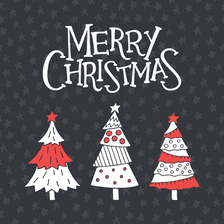simbols: Christmas greeting card with christmas simbols. Vector illustration