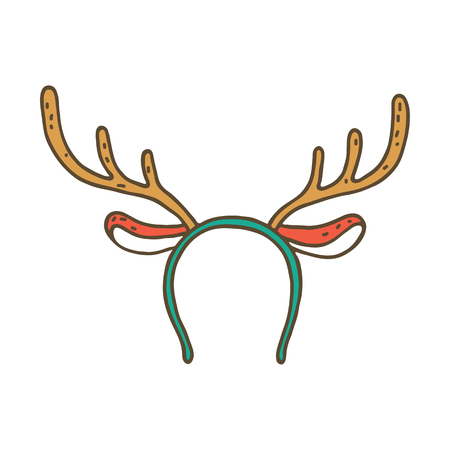 headband: Funny mask with Christmas reindeer horns isolated on white background Illustration