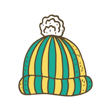 warm clothing: Knitted winter cap. Vector illustration