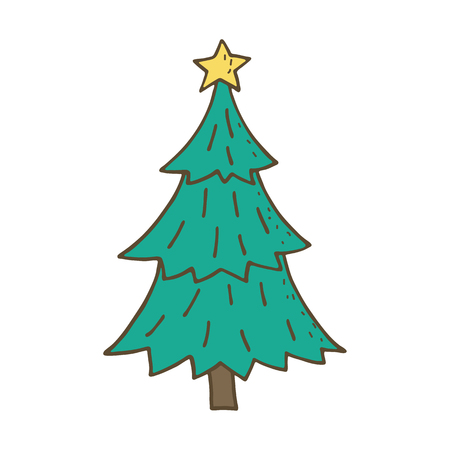 christmas cute: Cute Christmas tree. Vector illustration