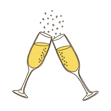 シャンパン グラス。ベクトル図