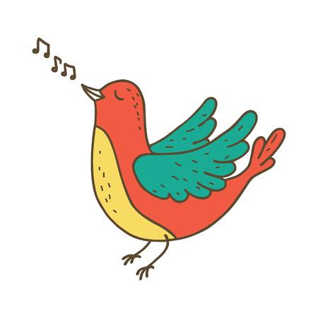 Cute little bird singing. Vector illustration Illustration