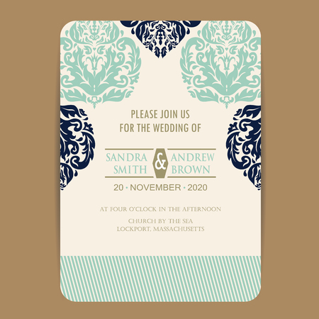 wedding reception: Wedding invitation and save the date cards. Also can be used as greeting cards, birthday cards or party invitations. Illustration
