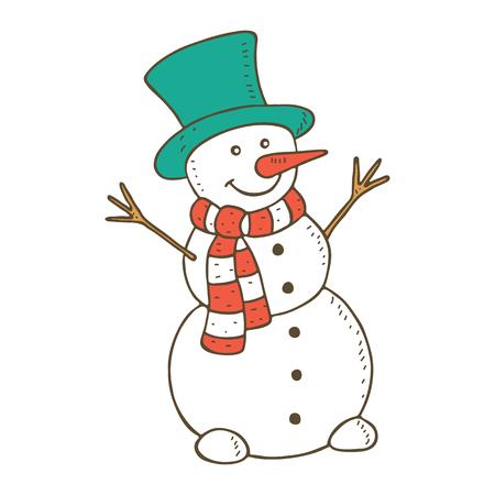 bonhomme de neige souriant mignon. Vector illustration