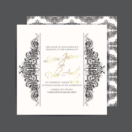 Wedding invitation or announcement card Çizim