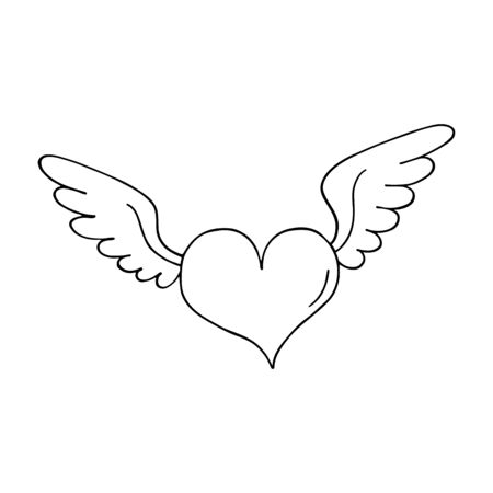 heart with wings: Valentines heart with wings. Outlined on white background