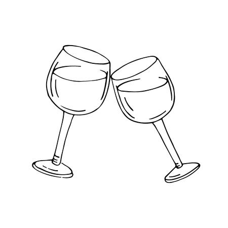 Dos vasos de vino. Esbozado en el fondo blanco