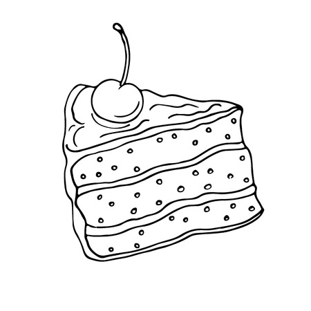 outlined: Slice of cake. Hand drawn sketch. Outlined on white background Illustration