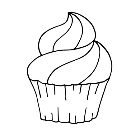 Cupcake in doodle style on white background