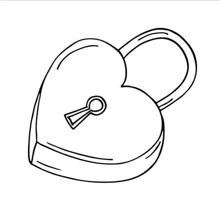 key hole shape: Heart-shaped lock on white background