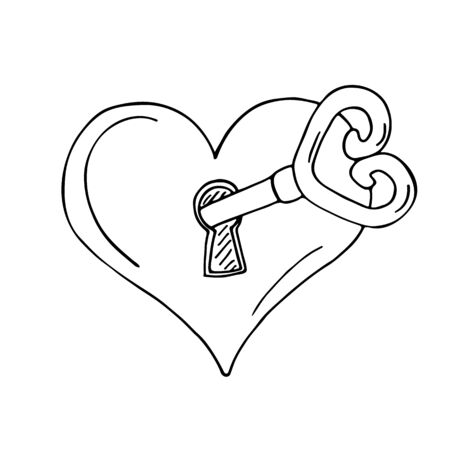 lowbrow: Heart-shaped lock with key on white background