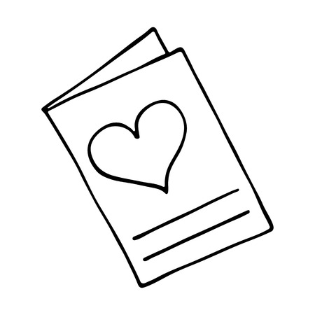 adoration: Greeting card icon with heart on white background Illustration