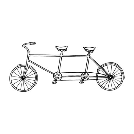 tandem: Illustration of tandem bicycle over white background