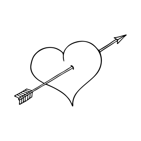 eros: Heart and arrow on white background