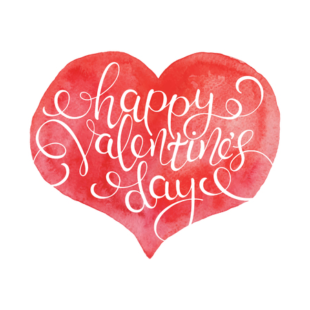 Happy Valentines Day. Hand Lettered Quote on Red Heart. Modern Calligraphy Illustration