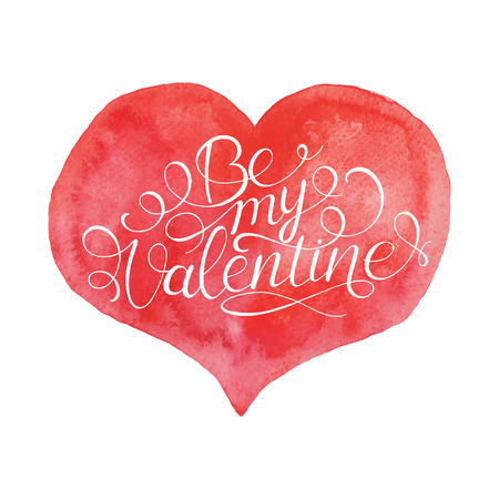 hand lettered: Be My Valentine. Hand Lettered Quote on Red Heart. Modern Calligraphy