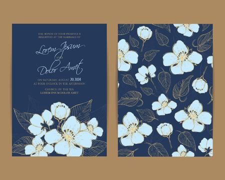 結婚式の招待状。花の Background.Vintage スタイル  イラスト・ベクター素材