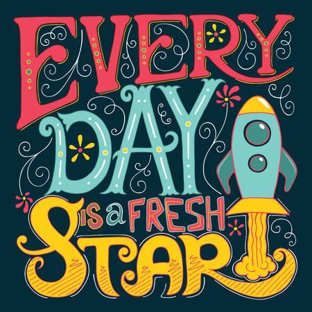 Kalligraphie inspirierend Zitat. Beschriftung. Motivation für das Leben und Glück. Für Postkarten- und Plakatgrafikdesign.