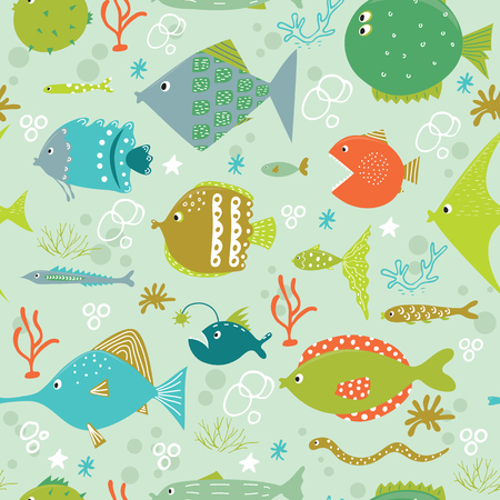 Vector seamless pattern with cute fishes