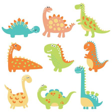 Cute Dino illustrations mis sur fond blanc Banque d'images - 78484185
