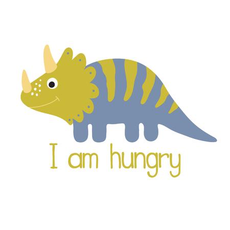 Cute dino illustration. I am hungry Illustration
