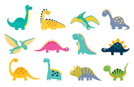 Cute dino illustrations set on white background