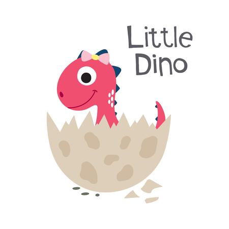 Cute cartoon Dino ilustracji wektorowych. Małe Dino