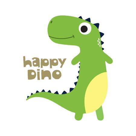 triceratops: Cute cartoon dino vector illustration. Happy dino