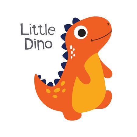 Cute cartoon dino vector illustration. Little dino Ilustrace
