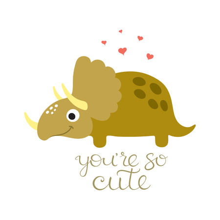 triceratops: Cute cartoon dino illustration. Be wild and free