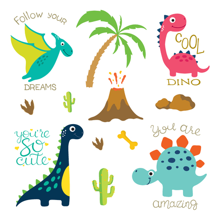 Cute dino illustrations set on white background Stok Fotoğraf - 88581821