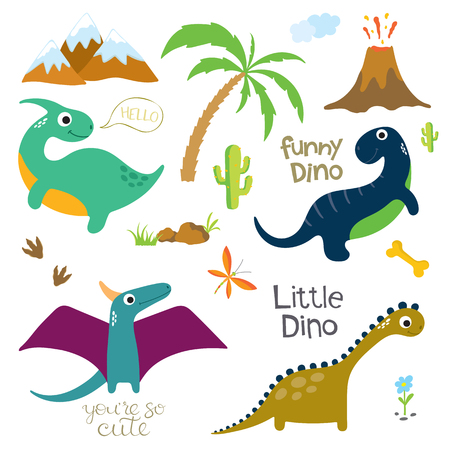 Dinosaur footprint, Volcano, Palm tree, Stones, Bone and other design elements. Vector illustration Illustration