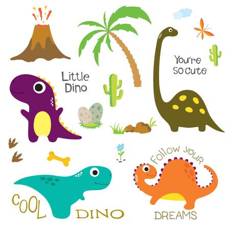 Dinosaur footprint, Volcano, Palm tree, Stones, Bone and other design elements. Vector illustration Illustration