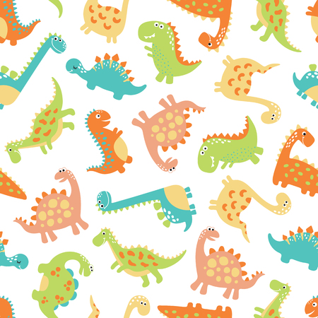 Cute dino seamless pattern vector illustrations on white background
