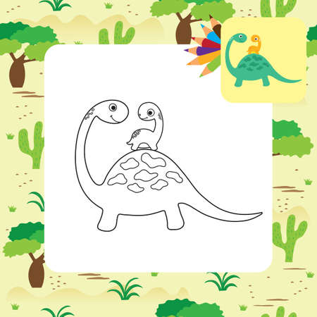 Cute cartoon dino coloring page. Vector illustration Vetores