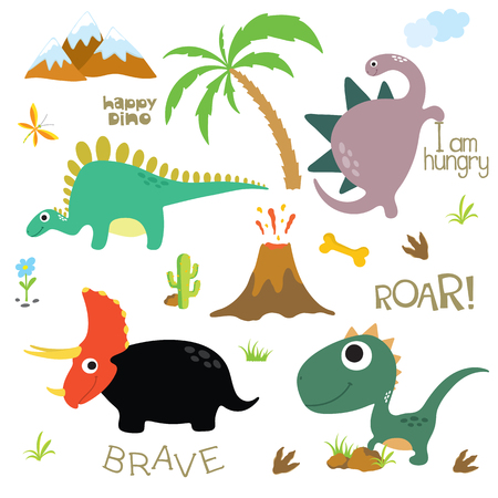Dinosaur footprint, Volcano, Palm tree, Stones, Bone and Cactus. Vector illustration