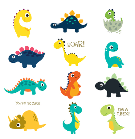 Set of little cute dinos. Vector illustration Illustration