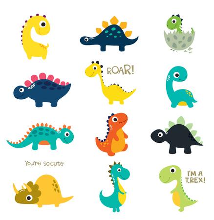 Set of little cute dinos. Vector illustration Illustration