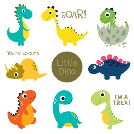 Zestaw małych uroczych dinozaurów. Ilustracji wektorowych