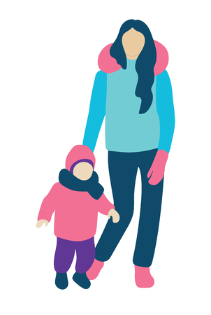 Young mother with a kid. People concept flat icon. Vector illustration