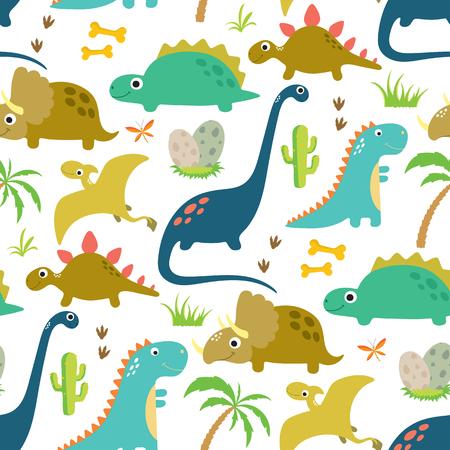 Lindo dinosaurio de patrones sin fisuras. Ilustración vectorial Ilustración de vector