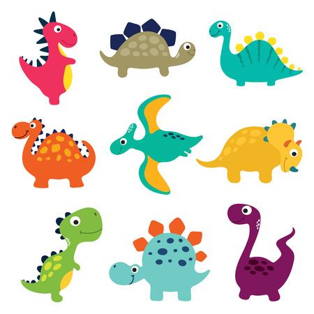 Funny cartoon dinosaurs collection. Vector illustration - Vector
