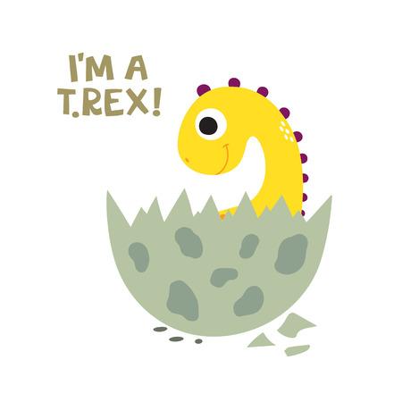 I'm a T. Rex! Cute dinosaur vector illustration