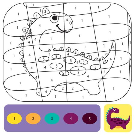 Simpatico dinosauro da colorare per bambini. Libro da colorare design stampabile. Puzzle da colorare con numeri di colore. Disegno in bianco e nero con esempio a colori