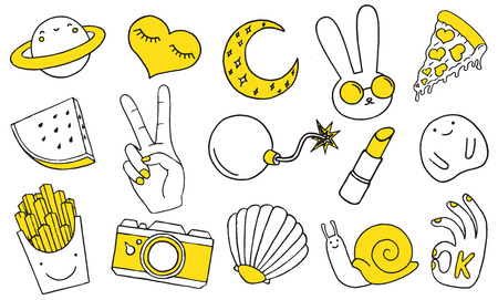 Patch set on white background. Vector illustration 일러스트